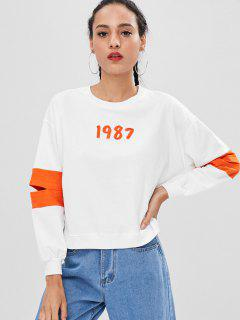Color Block Graphic Pullover Sweatshirt - White