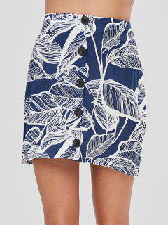 Leaves Print Buttoned Skirt - Deep Blue M