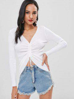 Cinched Ribbed Knitted Top - White