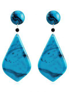Resin Geometric Stud Drop Earrings - Blue