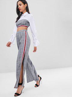 Contrast Plaid Crop Blouse And Slit Pants Set - Gray L