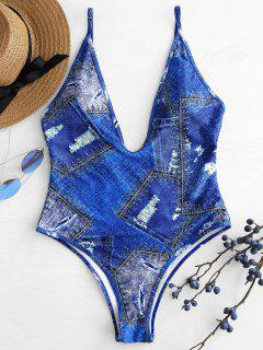 Denim Print Plunge Swimsuit - Cobalt Blue L