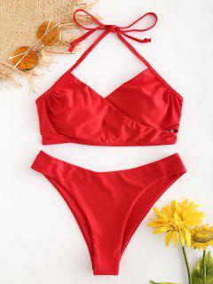 Bikini Taille Haute Et à Lanières Croisées  - Rouge De Pompier S
