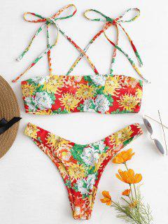 Tie Shoulder Floral Bikini - Multi S