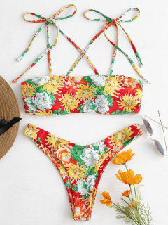 Tie Shoulder Floral Bikini - Multi L