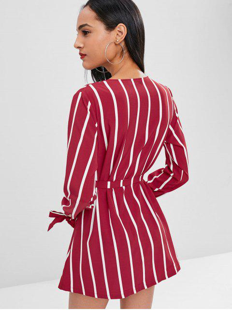 ladies Striped Long Sleeve V Neck Shirt Dress - RED WINE L Mobile