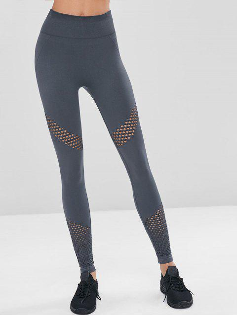 Leggings sin costura perforados de talle alto de gimnasio - Gris L Mobile