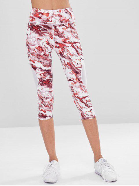 Tie Dye Capri Leggings deportivos - Rojo M Mobile
