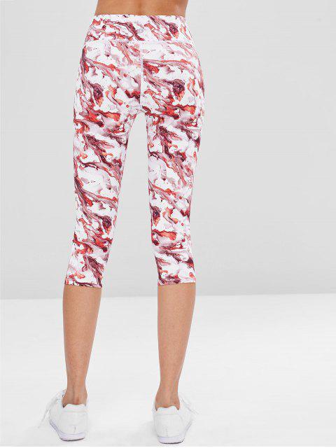 Tie Dye Capri Leggings deportivos - Rojo L Mobile