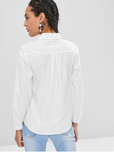 womens Little Feet Embroidery Cotton Shirt - WHITE L Mobile