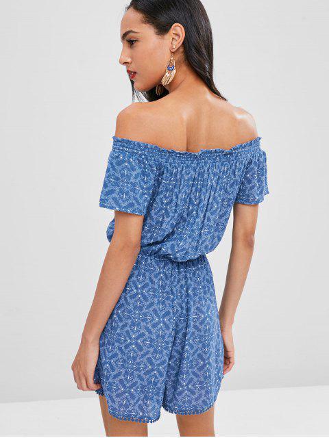 online Tasselled Floral Off The Shoulder Romper - BLUE L Mobile