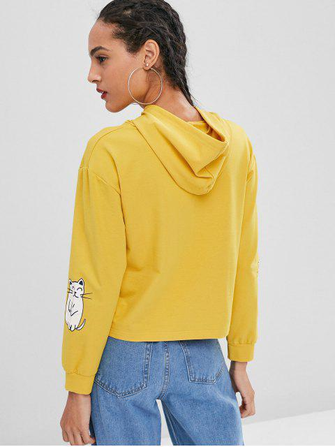 outfit Letter Cat Pullover Graphic Hoodie - YELLOW ONE SIZE Mobile