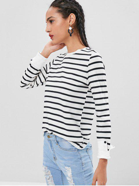 lady Turned Up Cuffs Striped Long Sleeve Tee - WHITE M Mobile