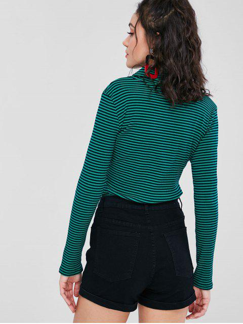 chic Rollneck Striped Ribbed Long Sleeve Tee - MULTI M Mobile