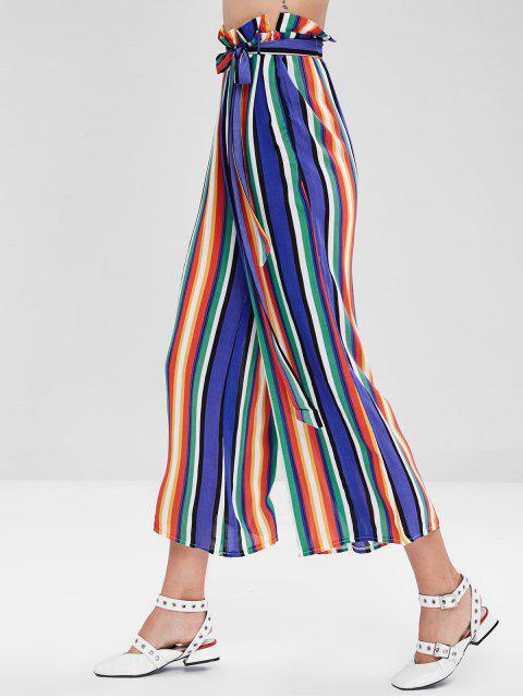 Striped Ruffle Wide Leg Pants - Multicolor S Mobile