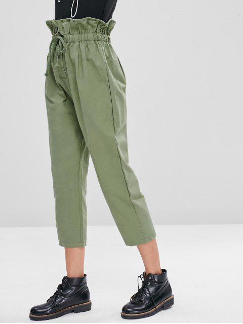 Pantalones de talle alto con cordón - Verde de Iguana  M Mobile