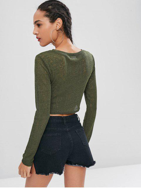 best Round Neck Crop Knitted Top - ARMY GREEN M Mobile