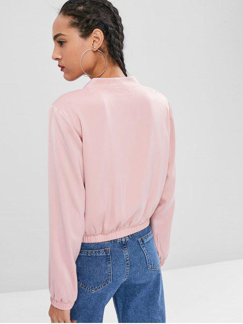 shop Zip Front Pockets Jacket - PINK S Mobile