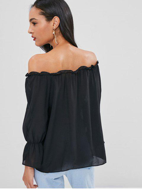 shops Ruffles Off Shoulder Semi Sheer Blouse - BLACK ONE SIZE Mobile