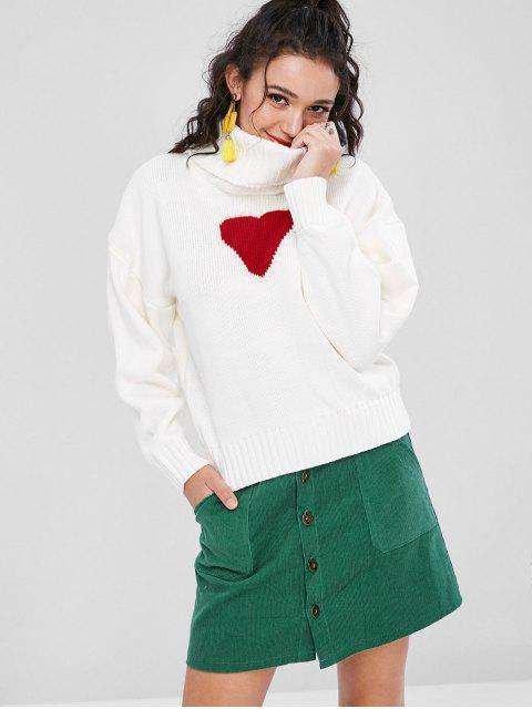 ladies Heart Faux Pearls Sweater - WHITE S Mobile