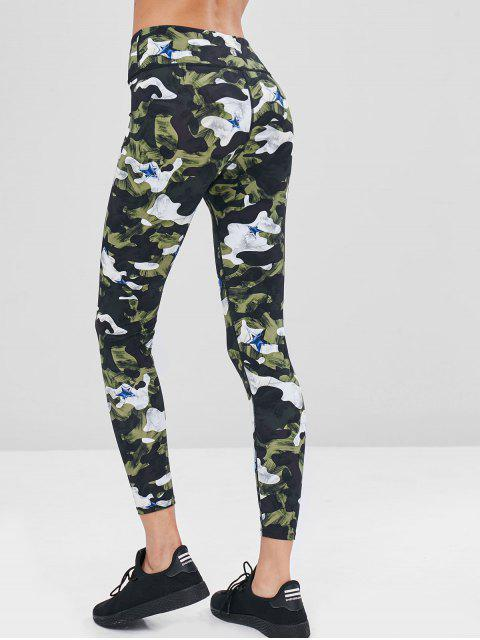 sale Camouflage High Waisted Gym Leggings - PINE GREEN L Mobile