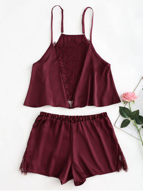 buy Satin Lace Inset Cami Top Shorts Pajama Set - RED WINE M Mobile
