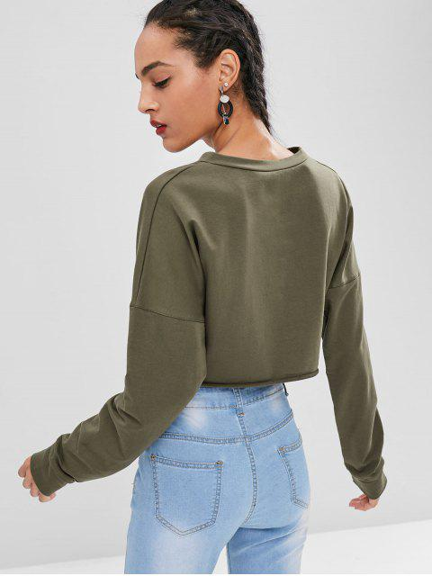 fancy Roll Hem Crop Sweatshirt - ARMY GREEN L Mobile