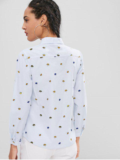 fashion Casual Umbrella Print Shirt - BABY BLUE L Mobile
