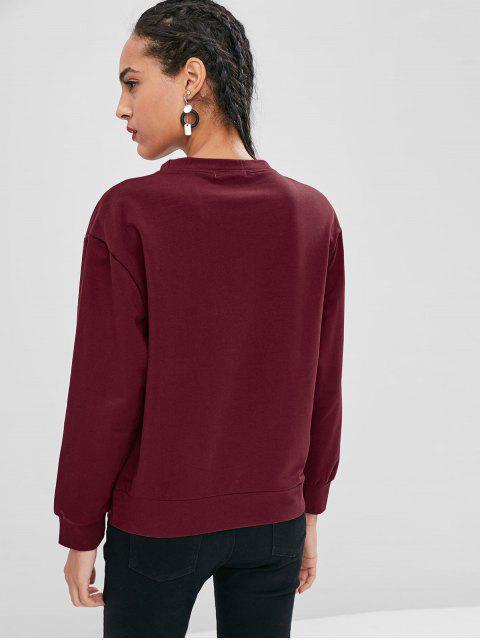 womens Crew Neck Dinosaur Graphic Sweatshirt - RED WINE M Mobile