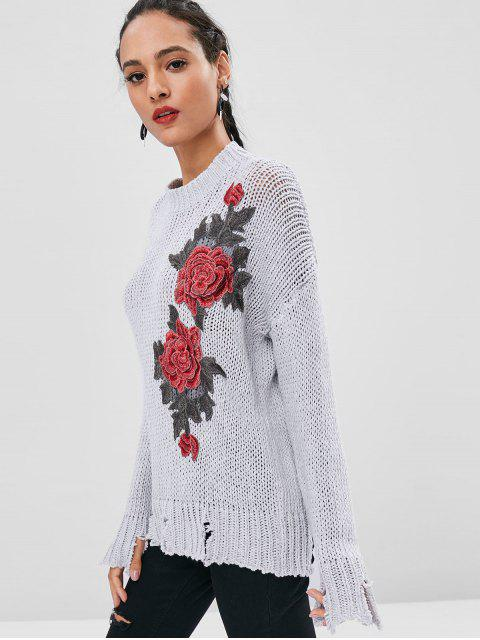 chic Floral Patched Ripped Hem Sweater - LIGHT GRAY S Mobile