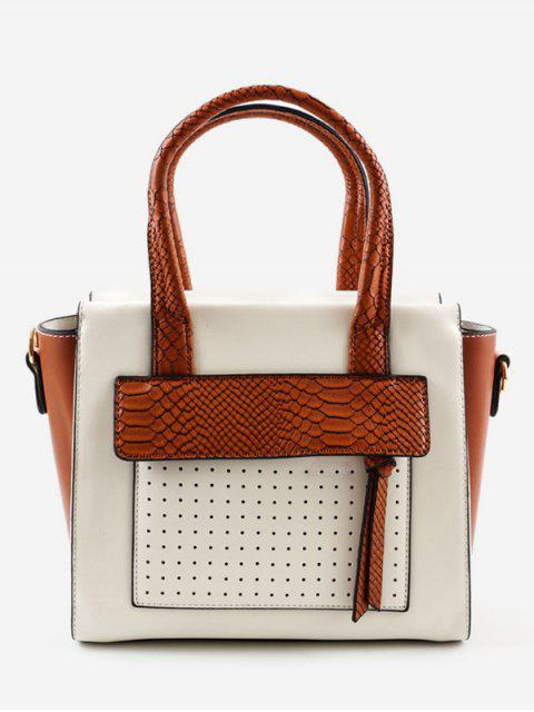 online Contrasting Color Personalized Chic Handbag - BROWN  Mobile
