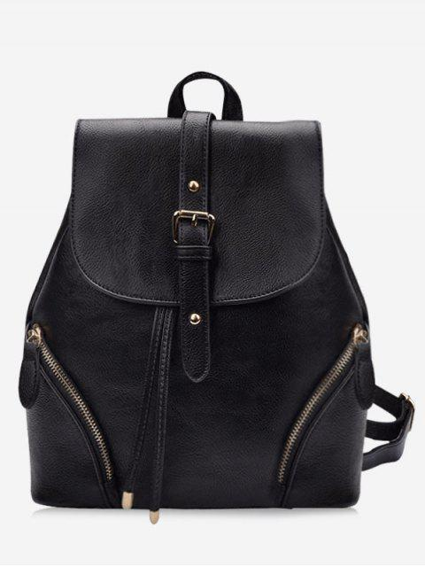 fancy Chic Flapped Functional Travel Backpack - BLACK  Mobile