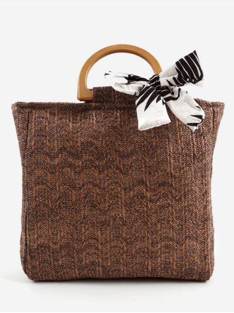 outfits Casual Woven Wooden Handle Tote Bag - COFFEE  Mobile