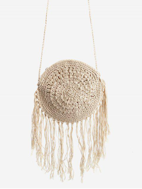 ladies Round Woven Leisure Holiday Crossbody Bag - BEIGE  Mobile