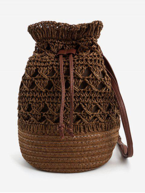 lady Hollow Out Woven Vacation Beach Bucket Bag - COFFEE  Mobile