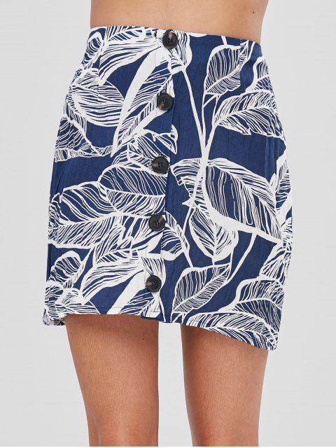 Falda con estampado de hojas - Azul Profundo XL Mobile