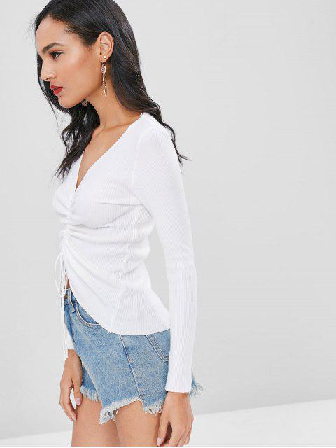 shops Cinched Ribbed Knitted Top - WHITE ONE SIZE Mobile
