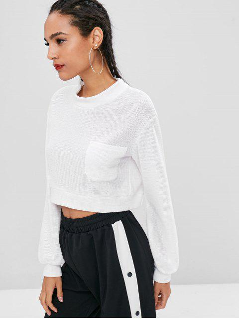 trendy Pocket Crop Sweatshirt - WHITE L Mobile