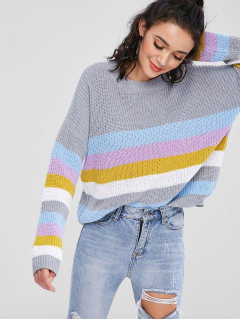 Pull à rayures colorées ZAFUL Pullover - Multi Taille Unique Mobile