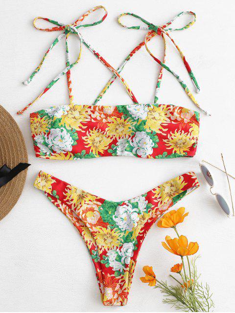 outfit Tie Shoulder Floral Bikini - MULTI L Mobile