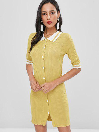Button Up Striped Shift Dress - Harvest Yellow