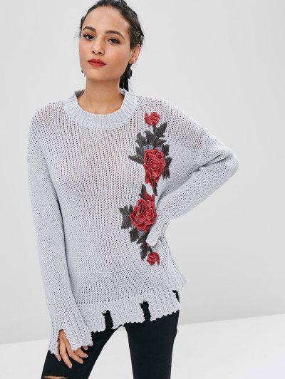 Floral Patched Ripped Hem Sweater - Light Gray S