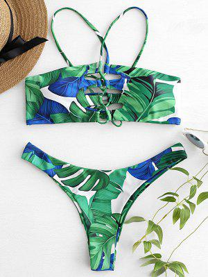 Palm Leaf Lace Up Bikini Set - Shamrock Green S