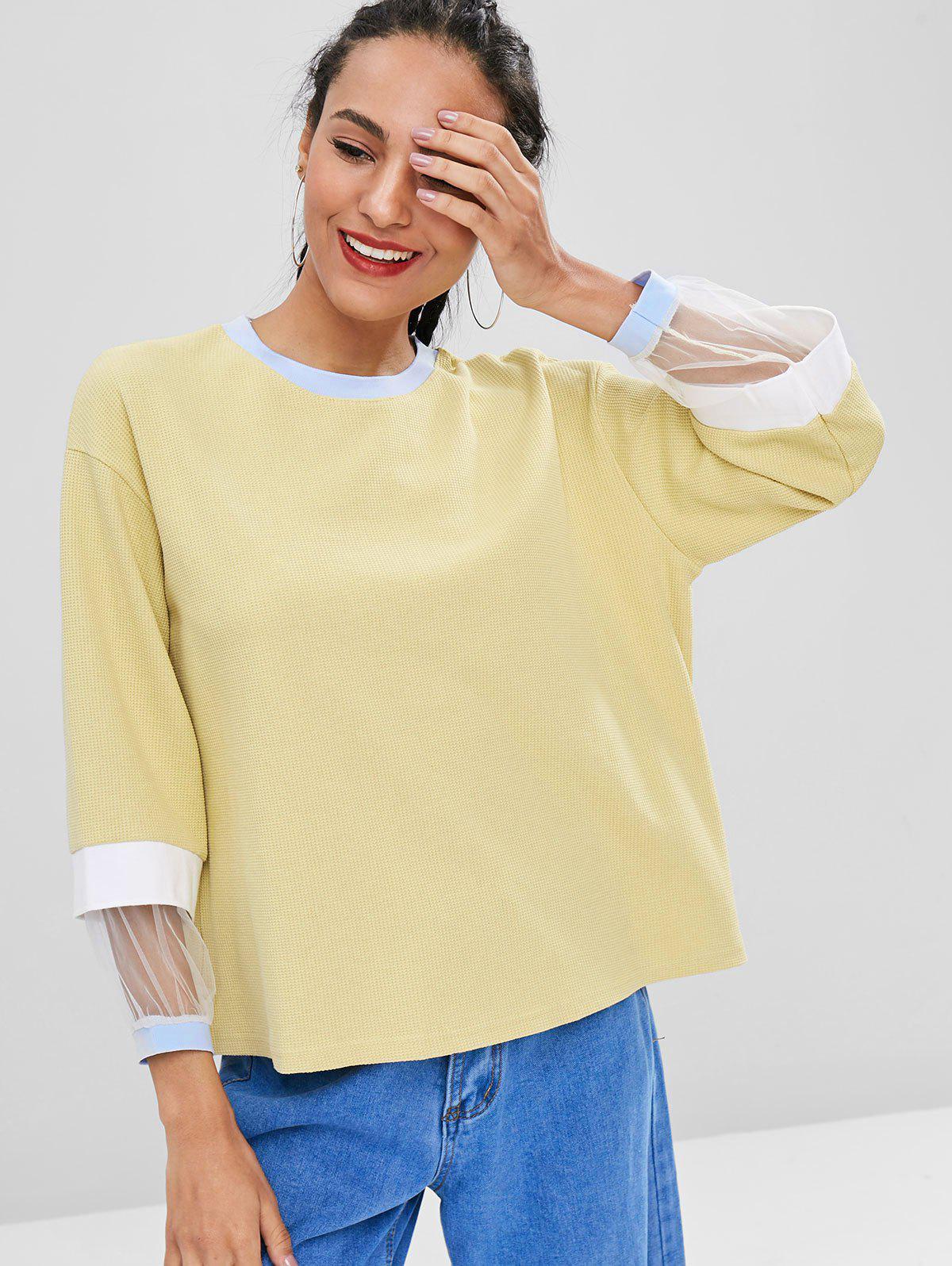 Mesh Panel Contrast Sweatshirt