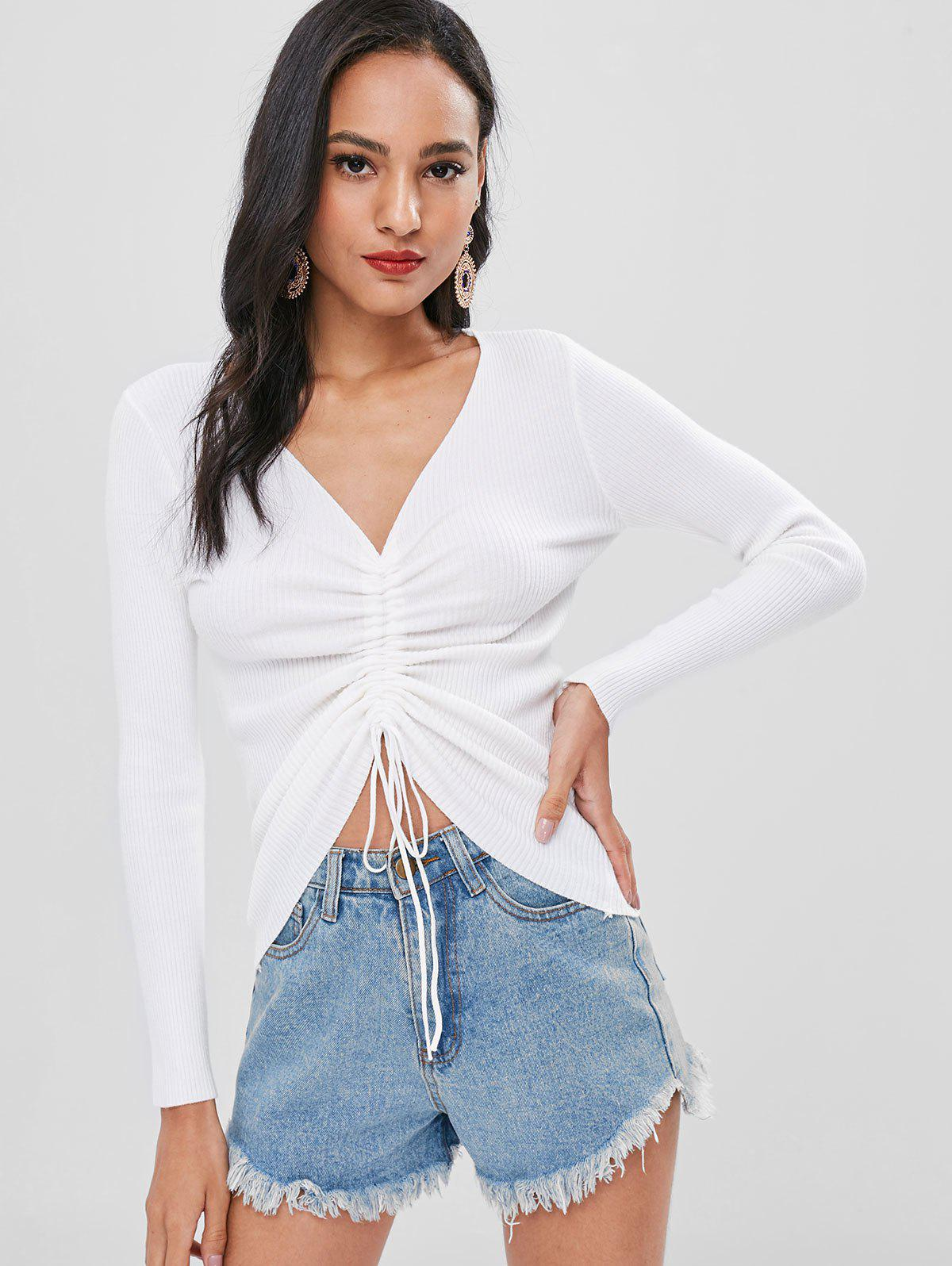 Cinched Ribbed Knitted Top