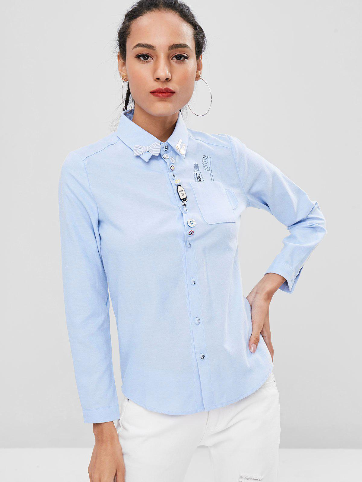 Embroidered Funny Multiple Buttons Front Shirt, Sky blue