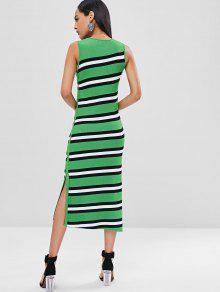 Verde Vestido Punto Rayas Tirantes De De De S Maxi qgnaq0rx