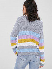 Multicolor ZAFUL Colorful Pullover Sweater Stripes 0fIUq1