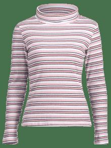 De Cuello De Camiseta S De Multi Rayas Larga Acanalada Manga Alto UP4nqA7W