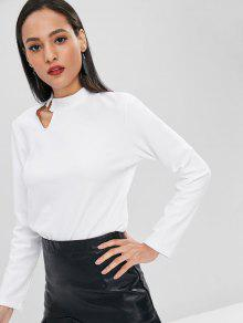 L Camiseta Larga Manga Blanco De Recortada wv41vXq